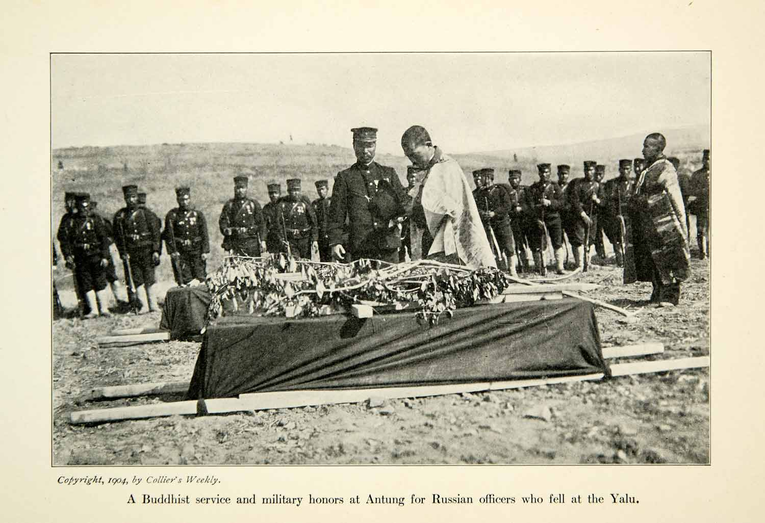 1904 Print Russo-Japanese War Buddhist Funeral Service Russian Officers XGDD5