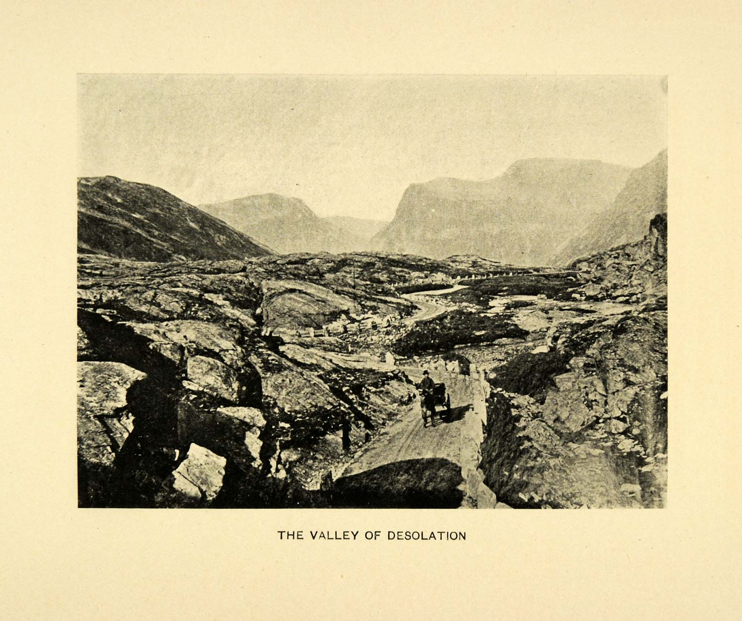 1904 Print Valley Norway Landscape Mountain Pass Horse Buggy Travel Peak XGE1