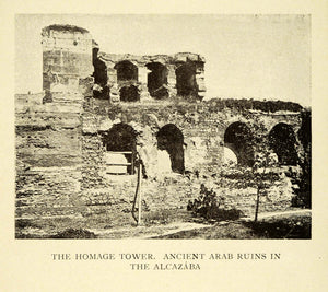 1907 Print Homage Tower Ancient Arab Ruins Alcazaba Granada Spain XGE3