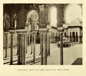 1907 Print General View Court Lions Alhambra Granada Spain Architecture XGE3