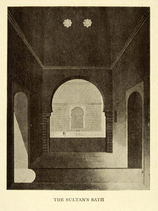 1907 Print Sultan's Bath Alhambra Granada Spain Architecture Historic XGE3