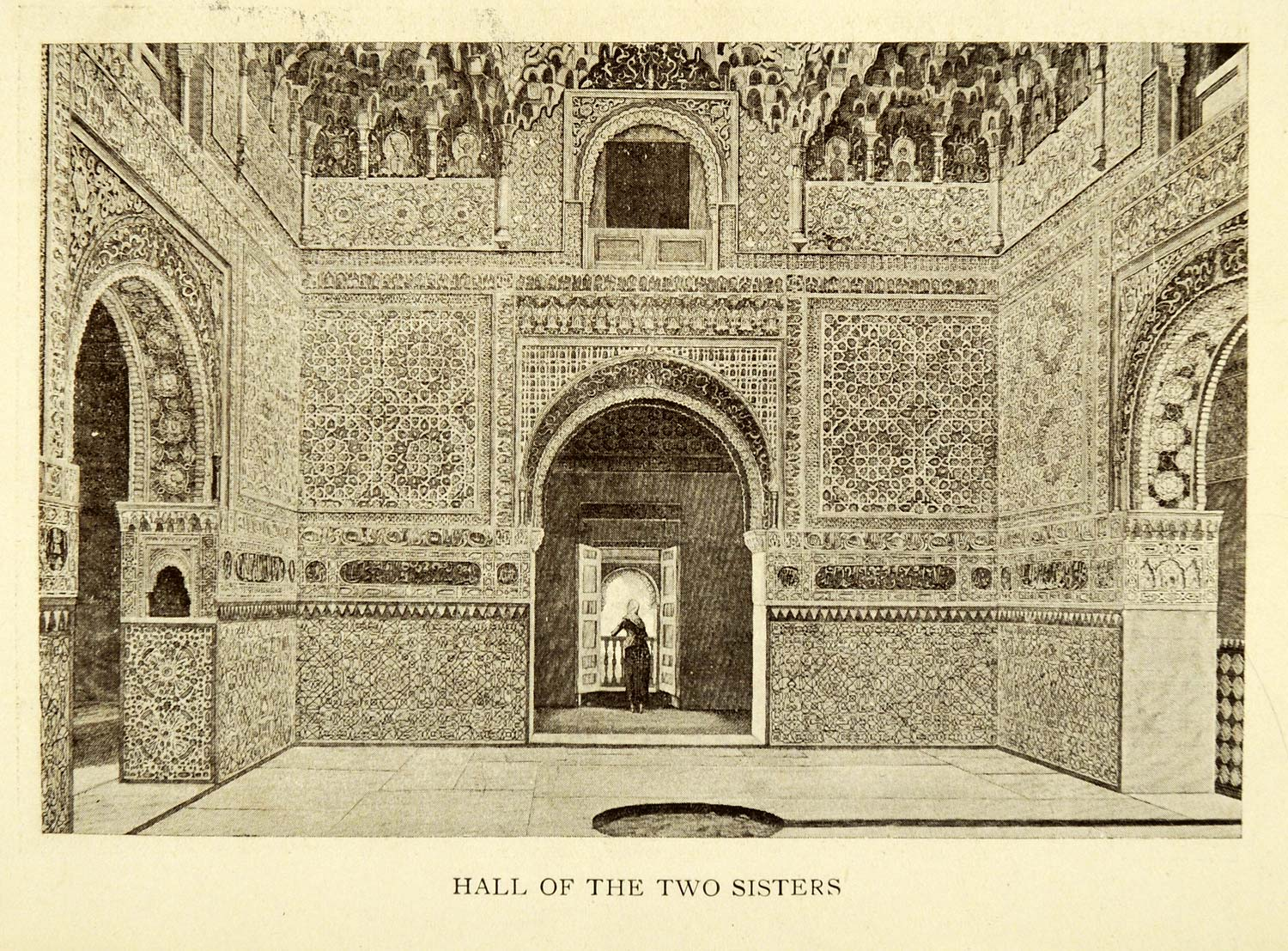 1907 Print Hall Two Sisters Alhambra Granada Spain Architecture Historical XGE3