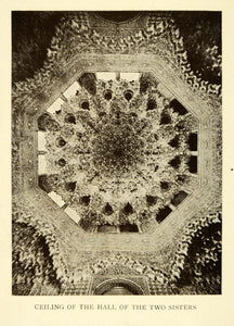 1907 Print Ceiling Hall Two Sisters Alhambra Granada Spain Architecture XGE3