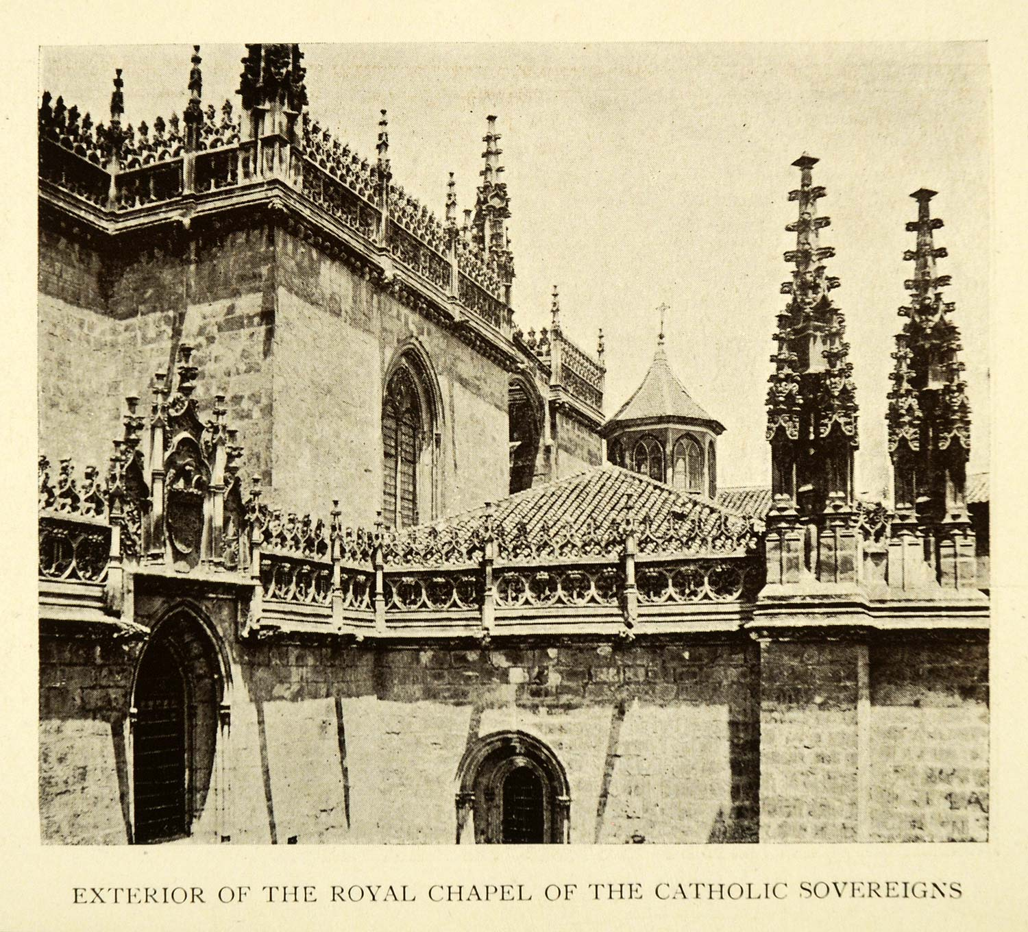 1907 Print Exterior Royal chapel Catholic Sovereigns Granada Spain XGE3