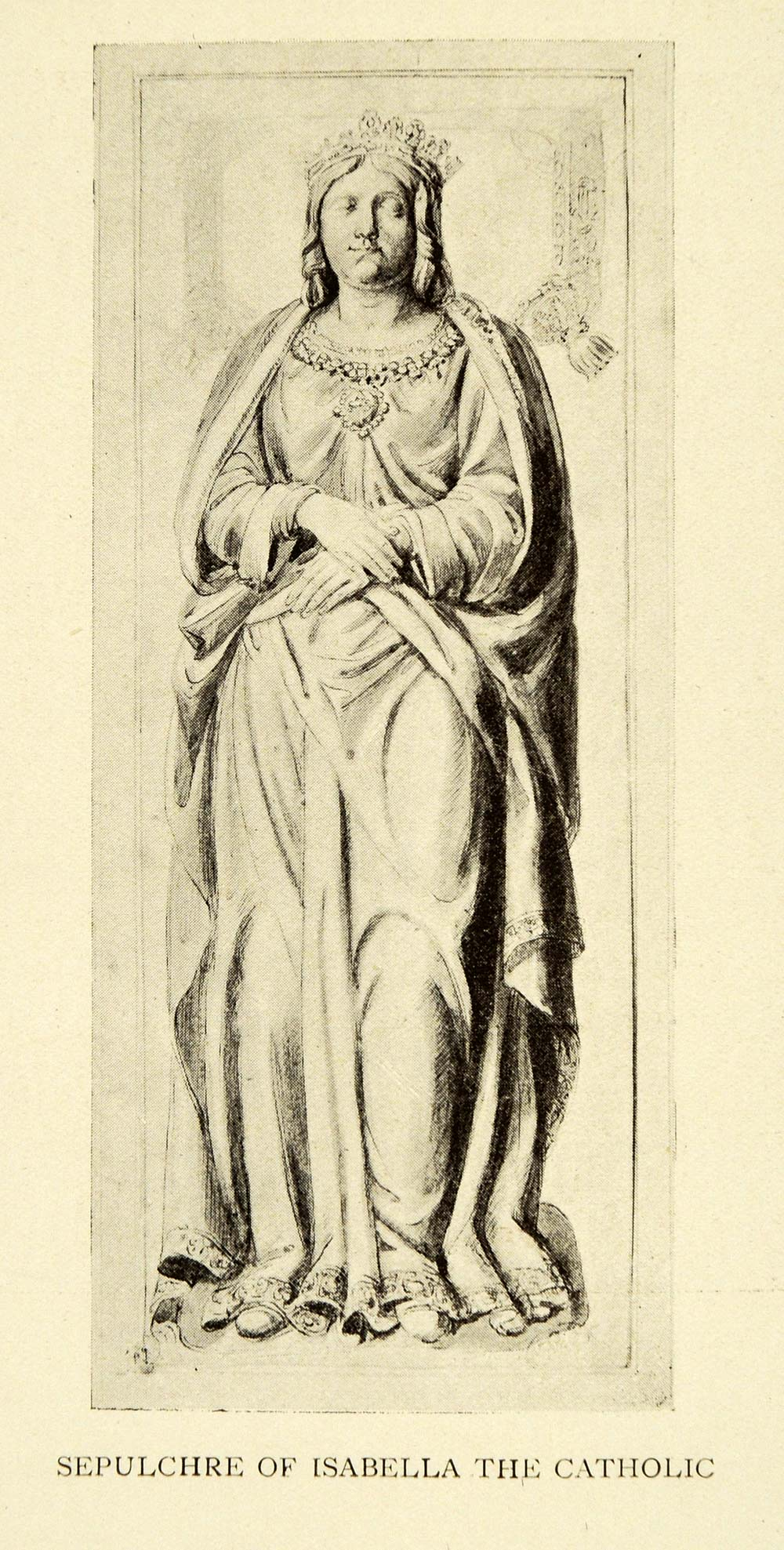 1907 Print Sepulchre Isabella Catholic Granada Spain Sculpture Historic XGE3
