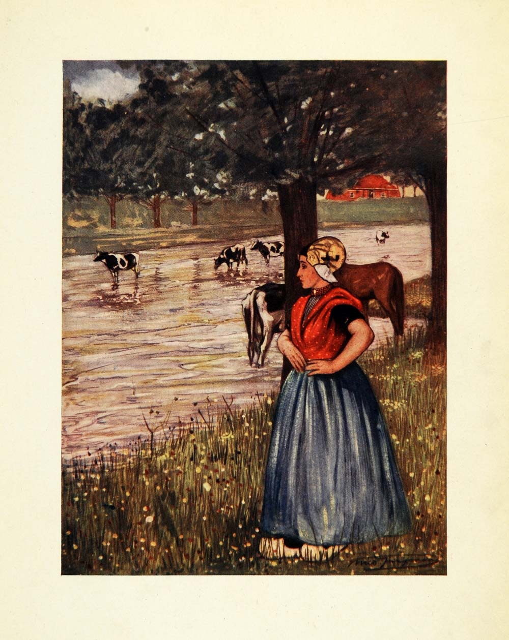1904 Print Nico Jungmann Art Goes Holland Peasant Girl Cattle Stream XGE7