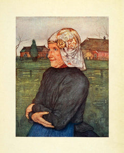 1904 Print Nico Jungmann Art Drenthe Holland Woman Side Portrait Gold XGE7