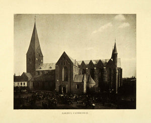 1909 Print Aarhus Cathedral Gothic Tower Denmark Jutland Saint Clemens XGE9