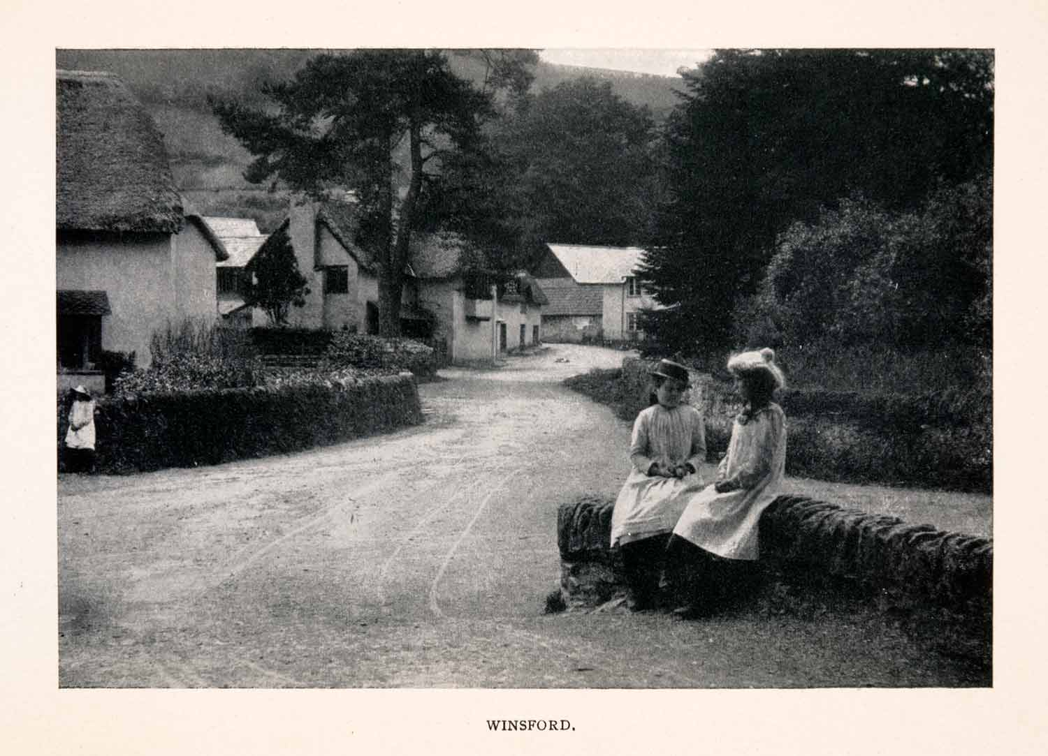 1906 Halftone Print Winsford Somerset England Village Girls Ward Road XGEA1