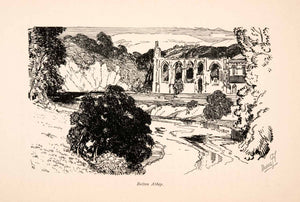 1903 Line-block Print Bolton Abbey North Yorkshire England Joseph Pennell XGEA6