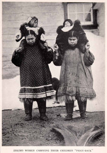 1942 Halftone Print Alaska Eskimo Women Mother Carry Children Baby XGEA9