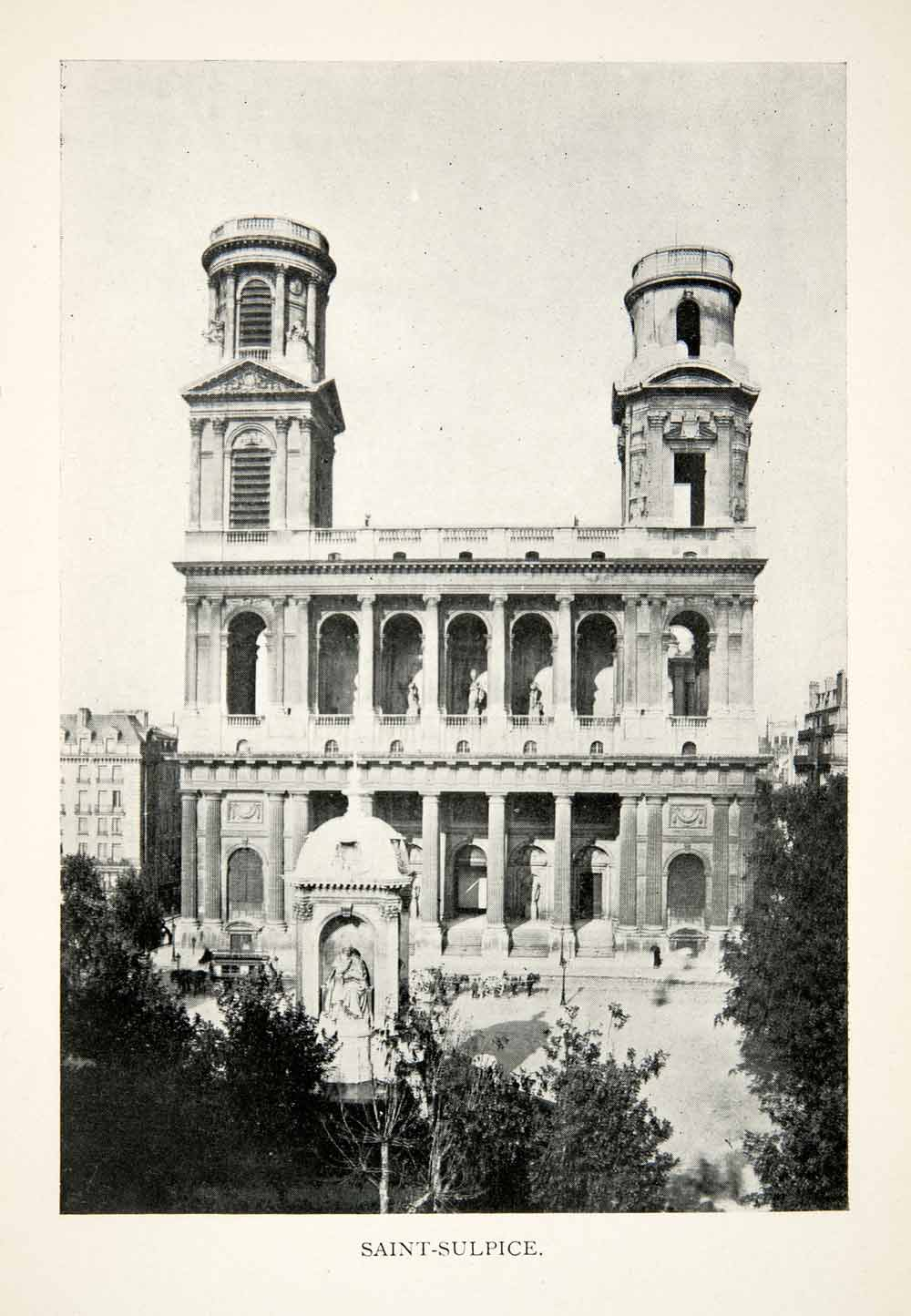 1900 Print Eglise Saint Sulpice Paris Roman Catholic Church France XGEB1