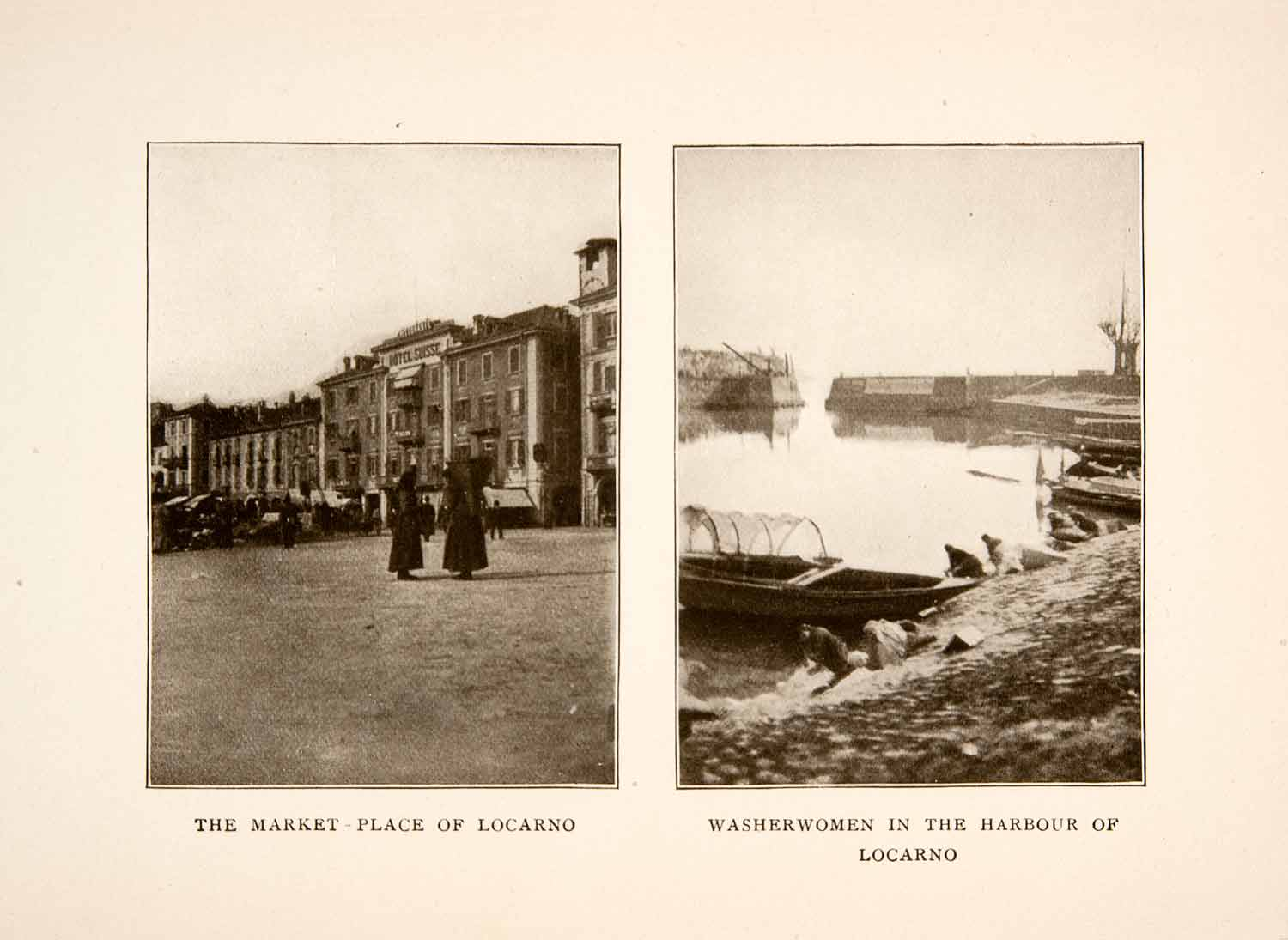 1908 Print Locarno Switzerland Market Lake Maggiore Laundresses Historic XGEB5