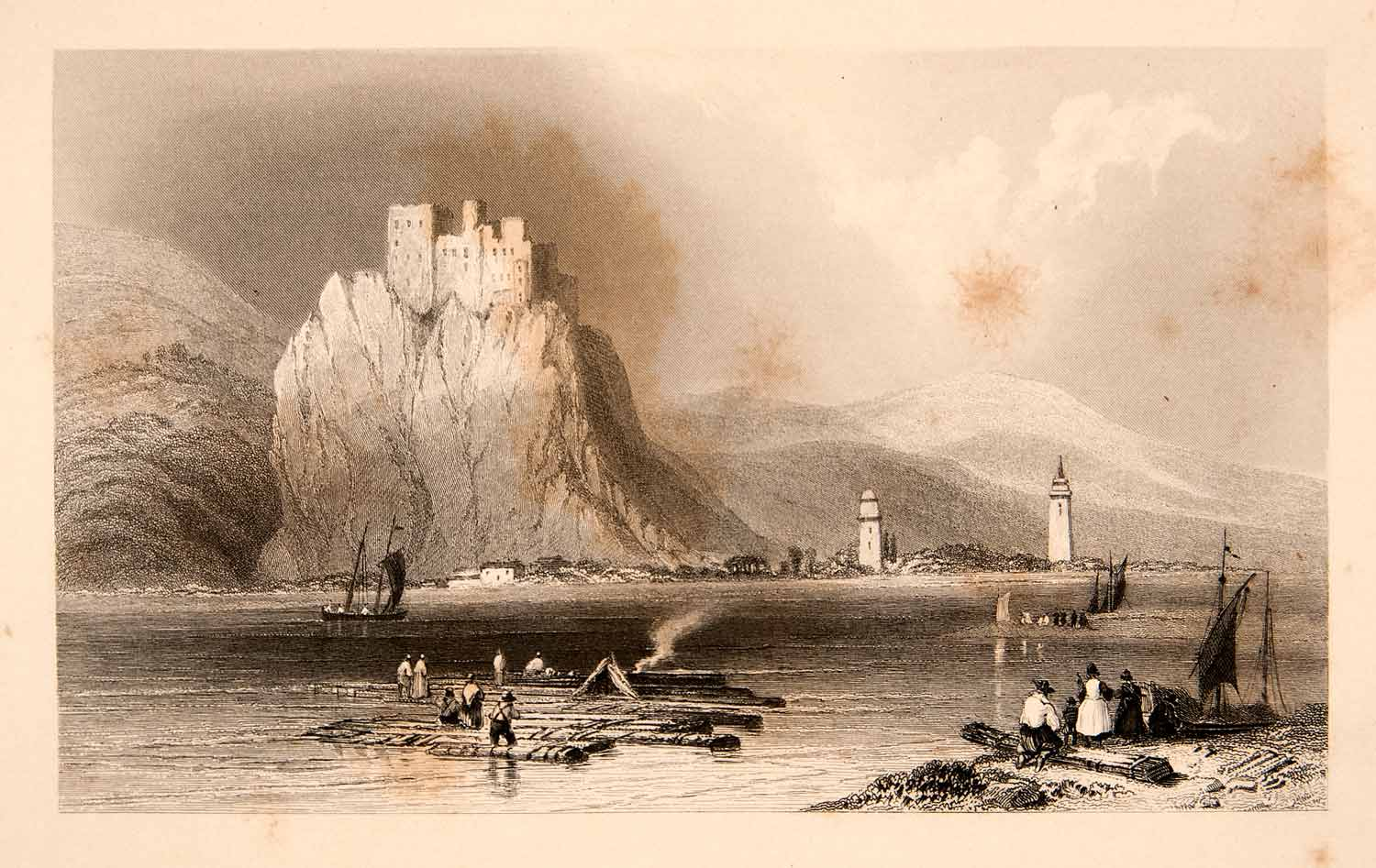 1840 Steel Engraving Castle Betzko Hungary Danube River Historic Landmark XGEC1