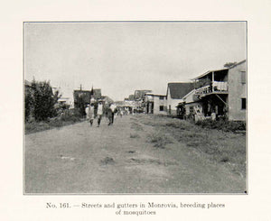 1930 Print Streets Gutters Monrovia Mosquitos Liberia Africa People Town XGEC4