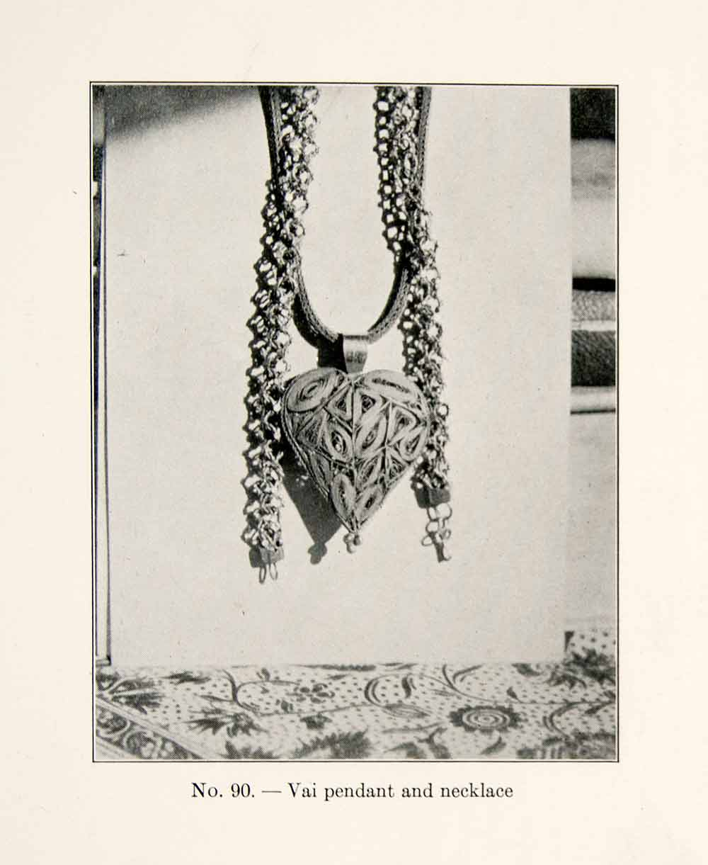 1930 Print Vai Pendant Necklace Liberia Africa Jewelry Heart Chain XGEC4