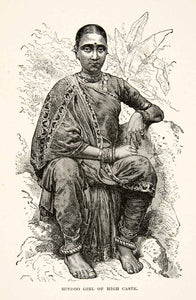 1881 Print Portrait Hindu Girl High Caste System India Portrait Costume XGEC6