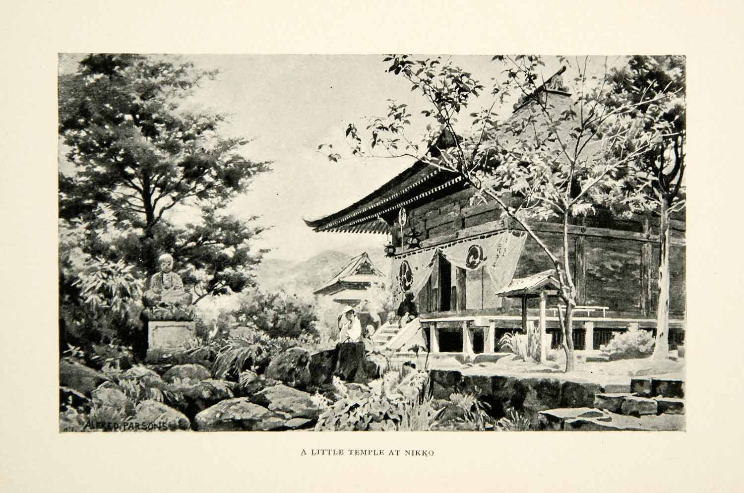 1896 Print Alfred Parsons Nikko Temple Complex Japan UNESCO Site Buddha XGED1