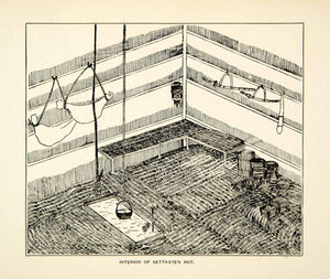 1884 Wood Engraving Interior Setta Eye Hut Yezo Japanese Tribal Home Rinzo XGED2