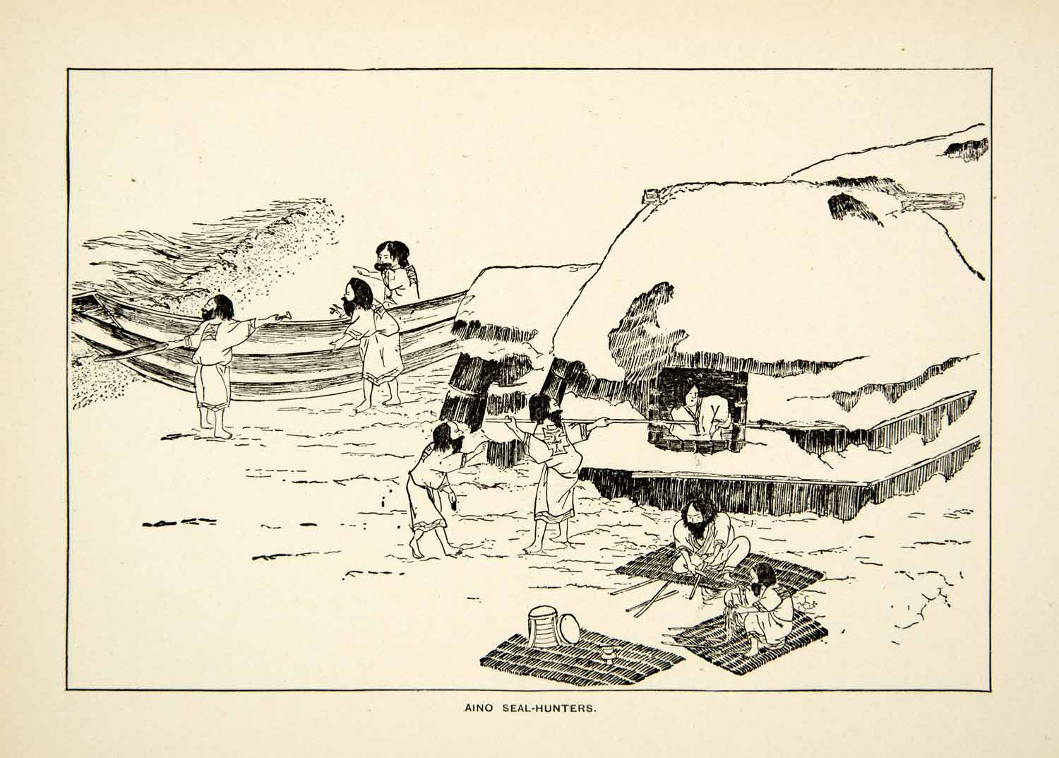 1884 Wood Engraving Tribe Aino Seal Hunters Japanese Rinzo Hut Thatch Boat XGED2