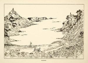 1884 Print Horonai Japan Landscape Cove Inlet Bay Cliff Mountains Rinzo XGED2