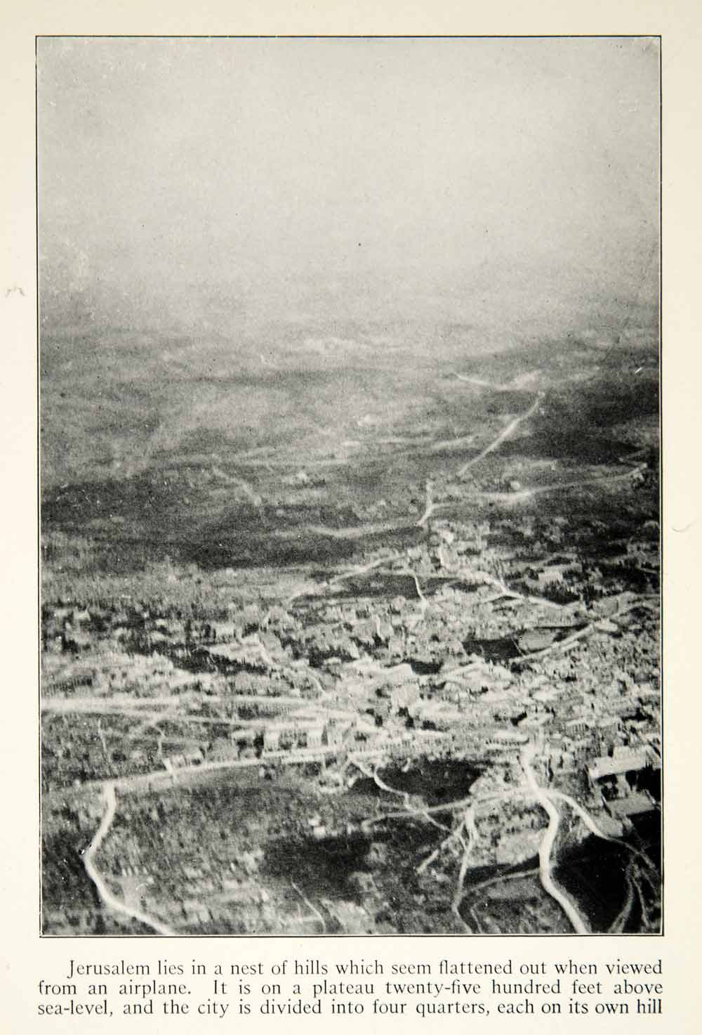 1922 Print Jerusalem Aerial View Israel Holy City Middle East Cityscape XGED3