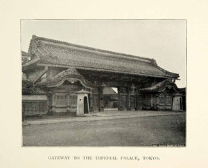 1896 Print Gateway Imperial Palace Tokyo Japan Architecture Historic XGED9