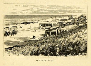 1877 Wood Engraving Scheveningen Holland Coastal Town Cityscape Beach Dunes XGF1