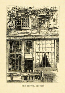 1877 Wood Engraving Art Old House Hoorn Holland Netherlands Historic Image XGF1
