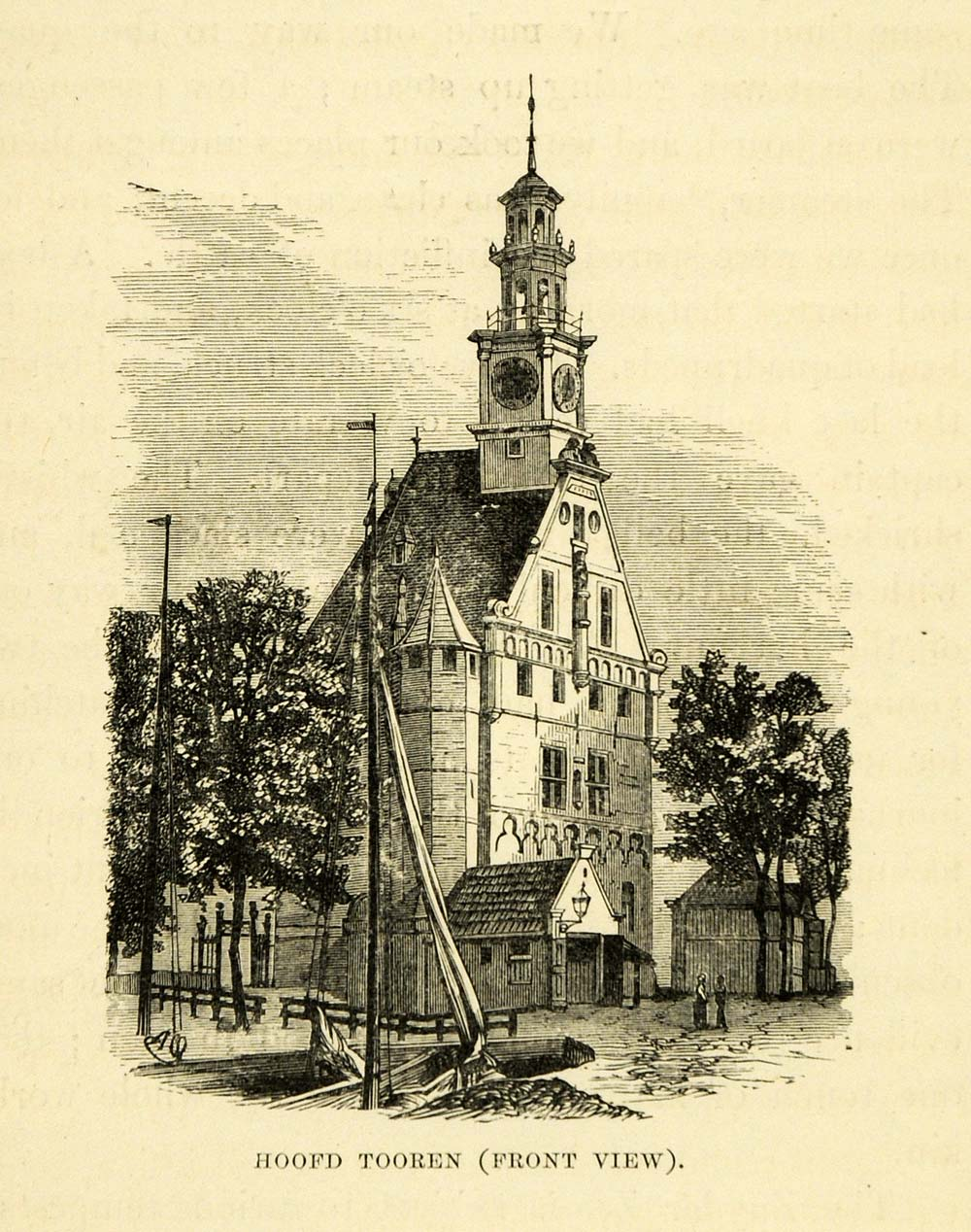 1877 Wood Engraving Art Hoofdtooren Church Holland Architecture Historic XGF1