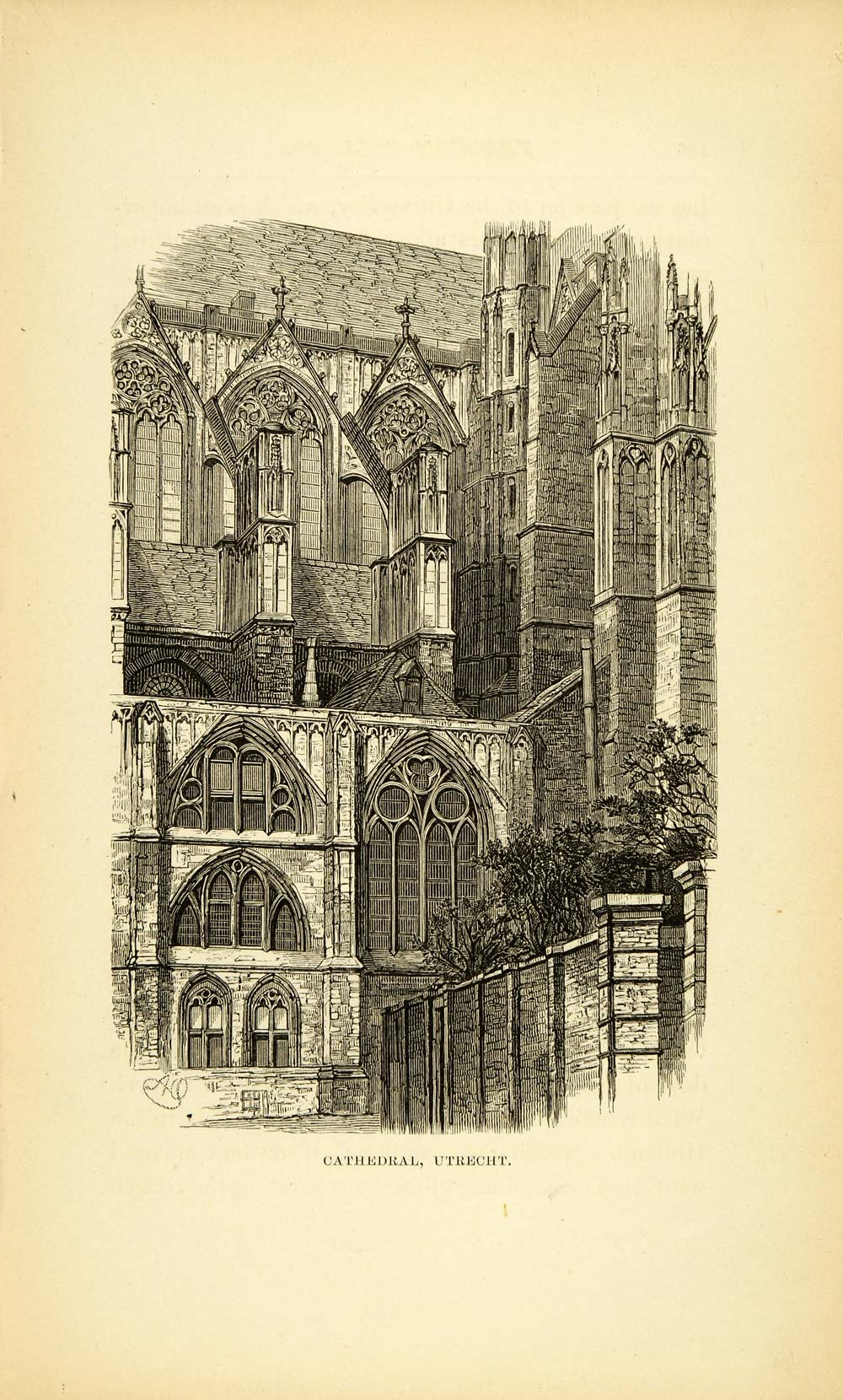 1877 Wood Engraving Art Cathedral Utrecht Holland Religious Historic Image XGF1