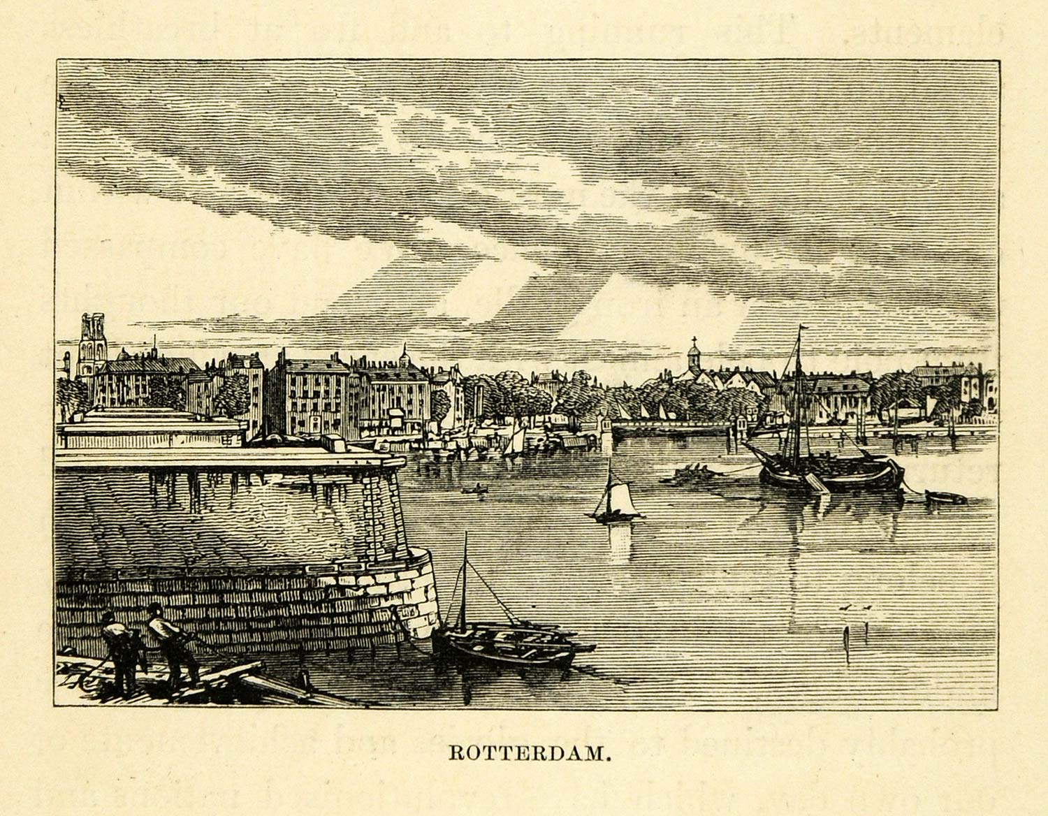 1877 Wood Engraving Rotterdam Holland Cityscape Historic Image Coastal Town XGF1