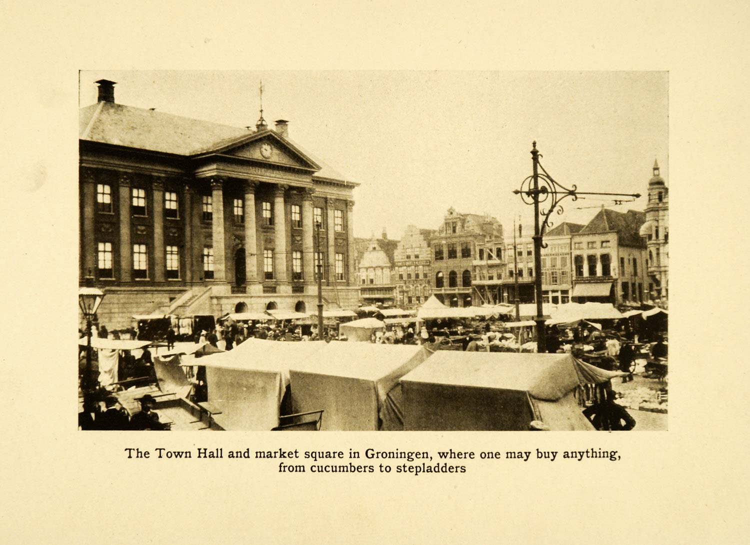1912 Print Groningen Holland Town Hall City Square Center Bazaar Historic XGF5