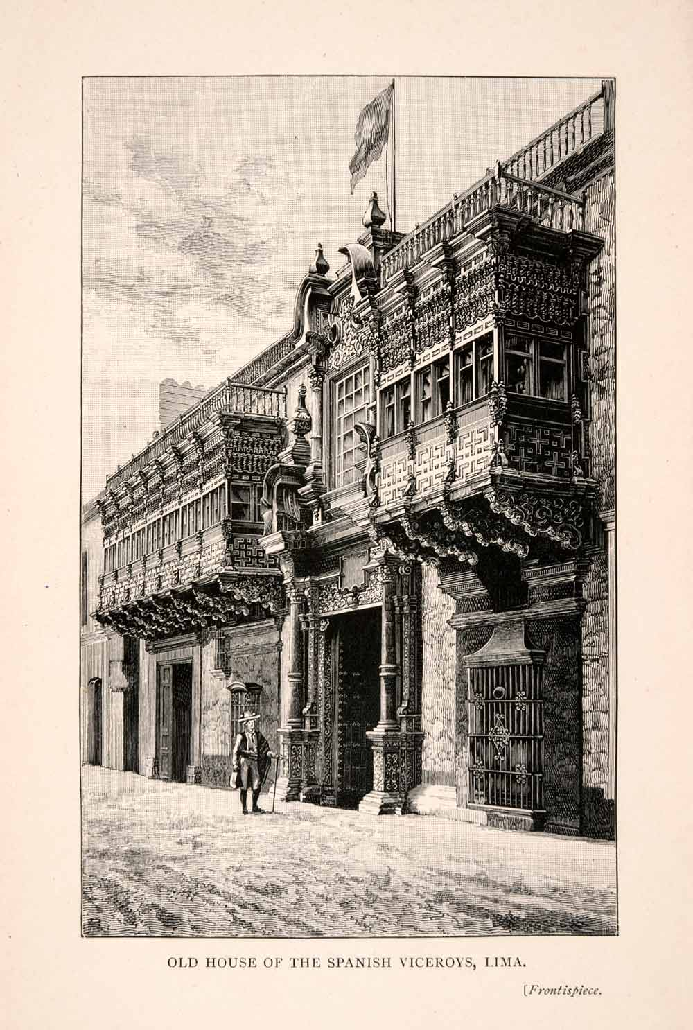 1896 Wood Engraving House Spanish Viceroys Lima Peru Architecture Art XGFA1