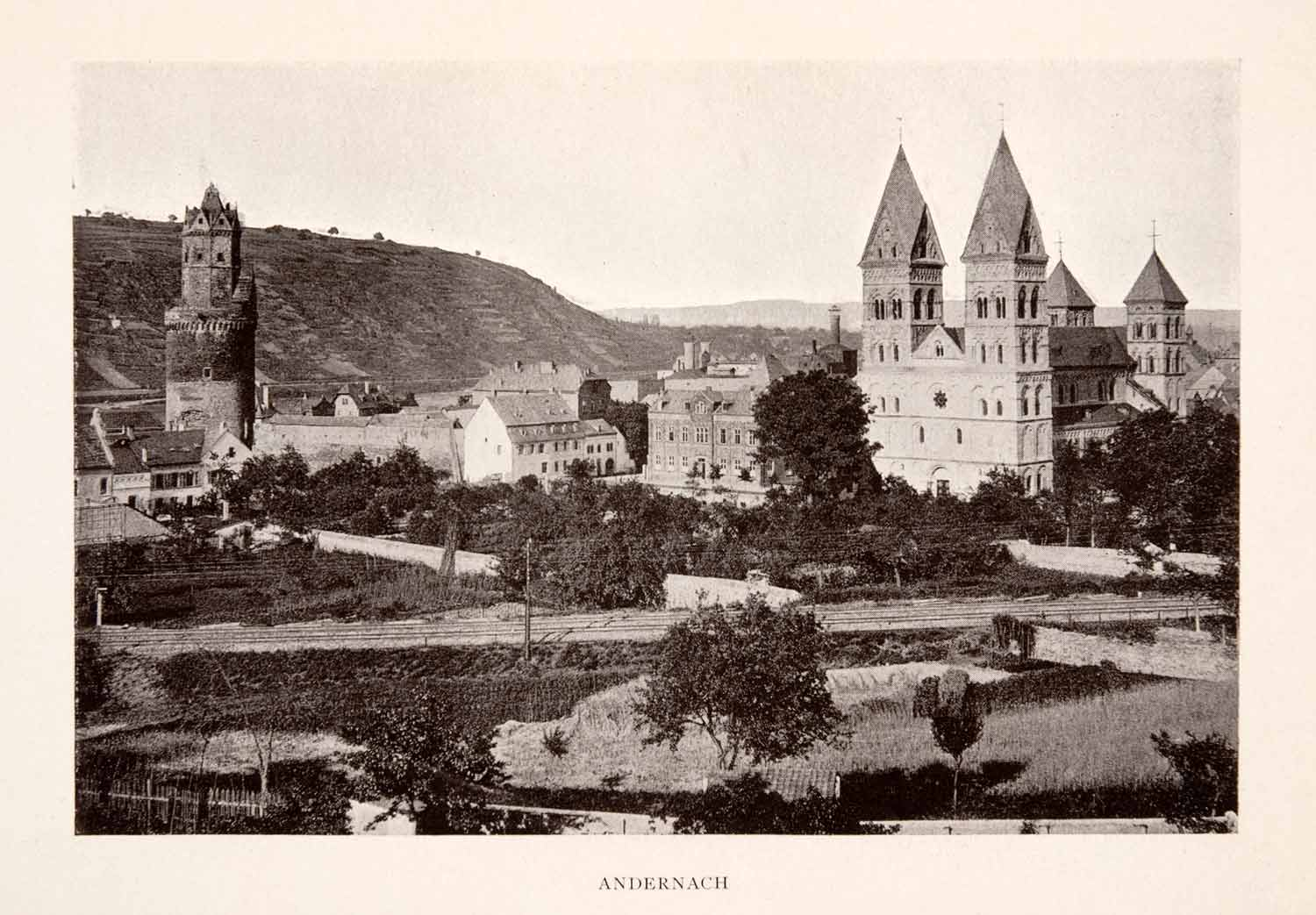 1906 Print Andernach Round Tower Mary Assumption Church Railway Tracks XGFA3