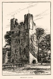 1894 Wood Engraving Helmsley Castle Yorkshire England Historic Landmark XGFA8