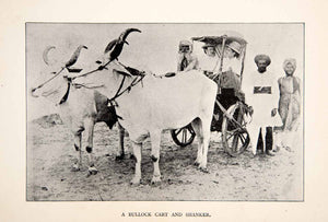 1892 Print Ox Cart Bullock Brougham India English Travelers Shanker Driver XGFB4