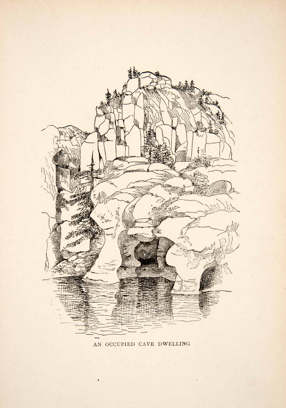 1895 Wood Engraving Occupied Cave Dwelling Indigenous People Chihuahua XGFB5