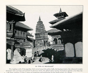 1929 Print Bhatgaon Nepal Architecture Bell Pagoda Temple Tower Carving XGFB7