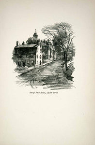 1921 Print Leyden Street Massachusetts First House Clarence White Sketch XGFB9