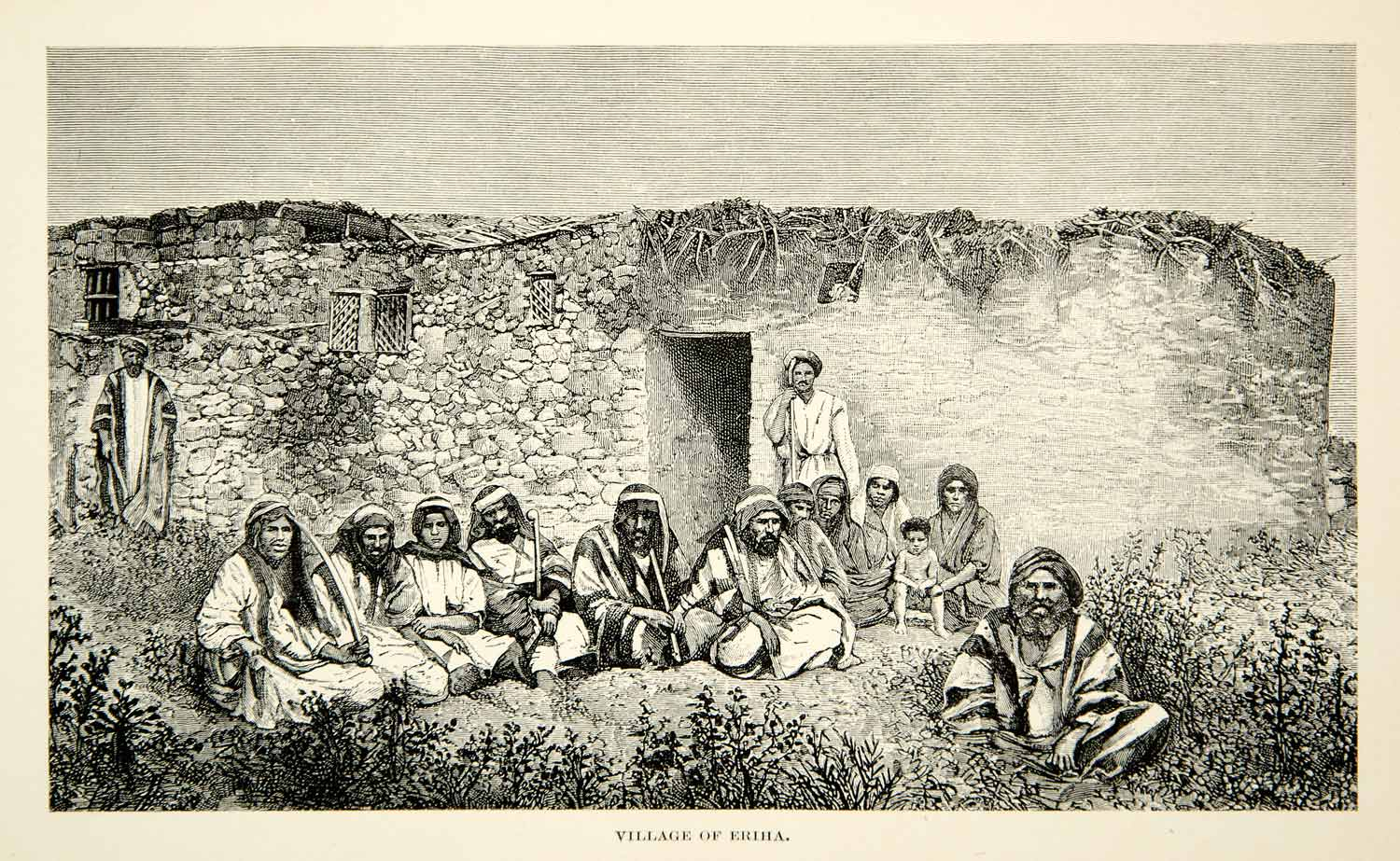 1891 Wood Engraving Villagers Ariha Eriha Ethnic Tribal Middle East XGFD1
