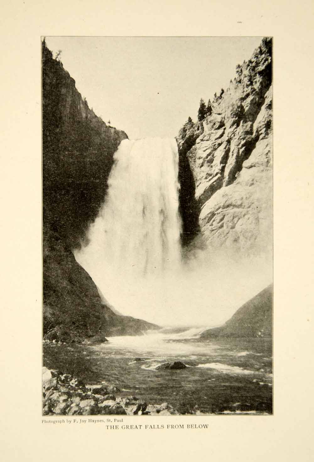1903 Print Yellowstone National Park Waterfall Landscape Historical Image XGFD2