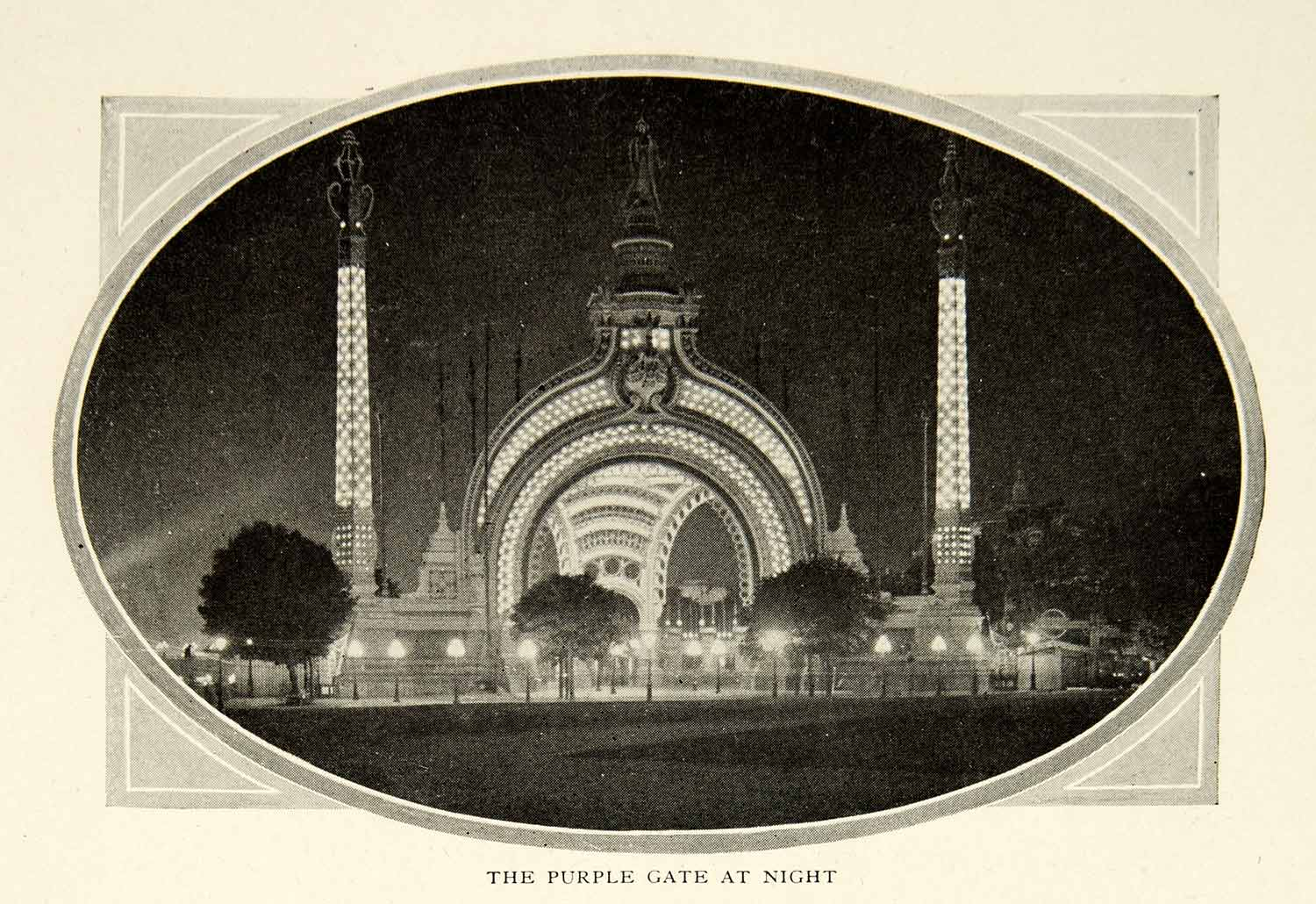 1903 Print Paris France Purple Gate Night Shot Historical Image View Light XGFD2