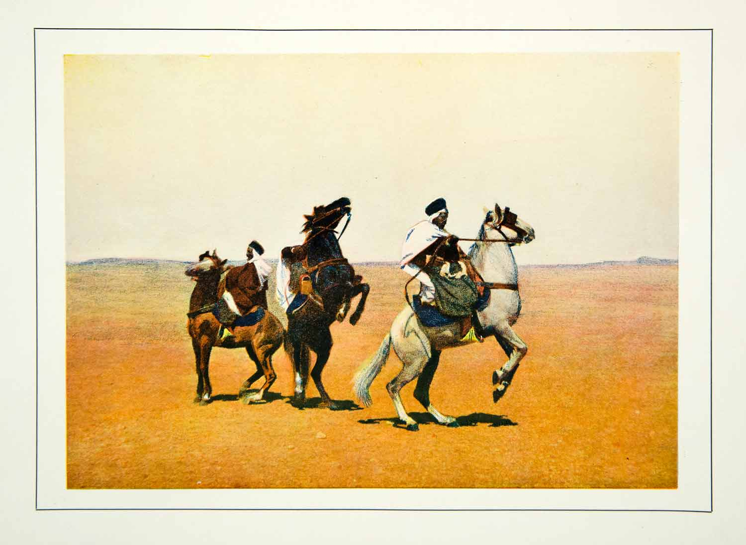 1903 Color Print North Africa Algeria Spahi French Cavalry Sahara Desert XGFD2