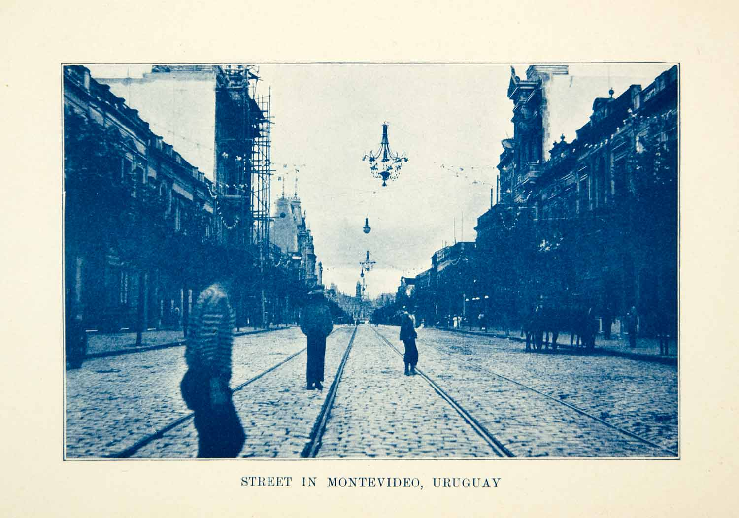 1909 Print Montevideo Street Capital City Uruguay Architecture Cityscape XGFD8