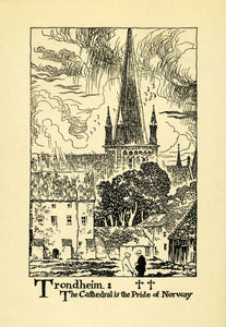 1938 Wood Engraving Trondheim Cathedral Norway Norge Church Religion XGG1
