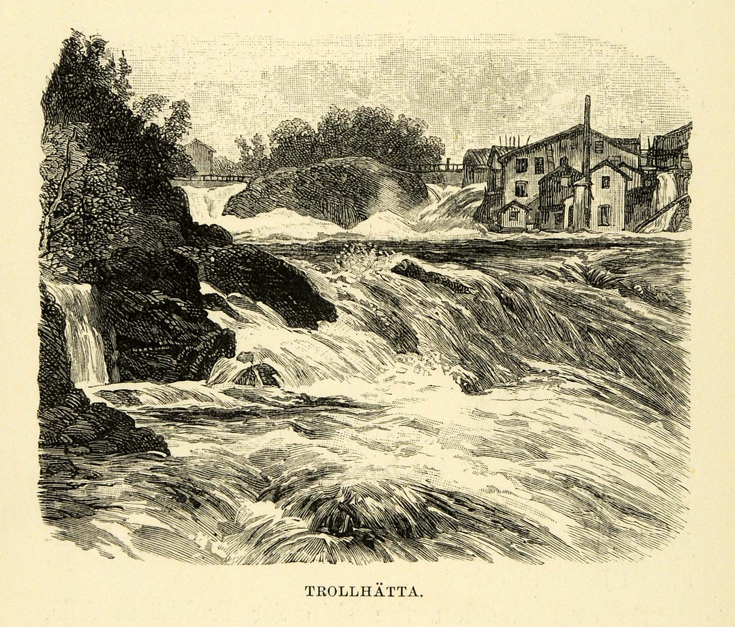 1886 Wood Engraving Trollhatta Sweden Sverige Waterfall Falls Home XGG2
