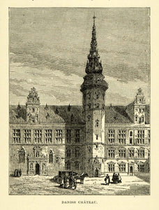 1886 Wood Engraving Danish Denmark Chateau Danmark Spire Architecture Horse XGG2