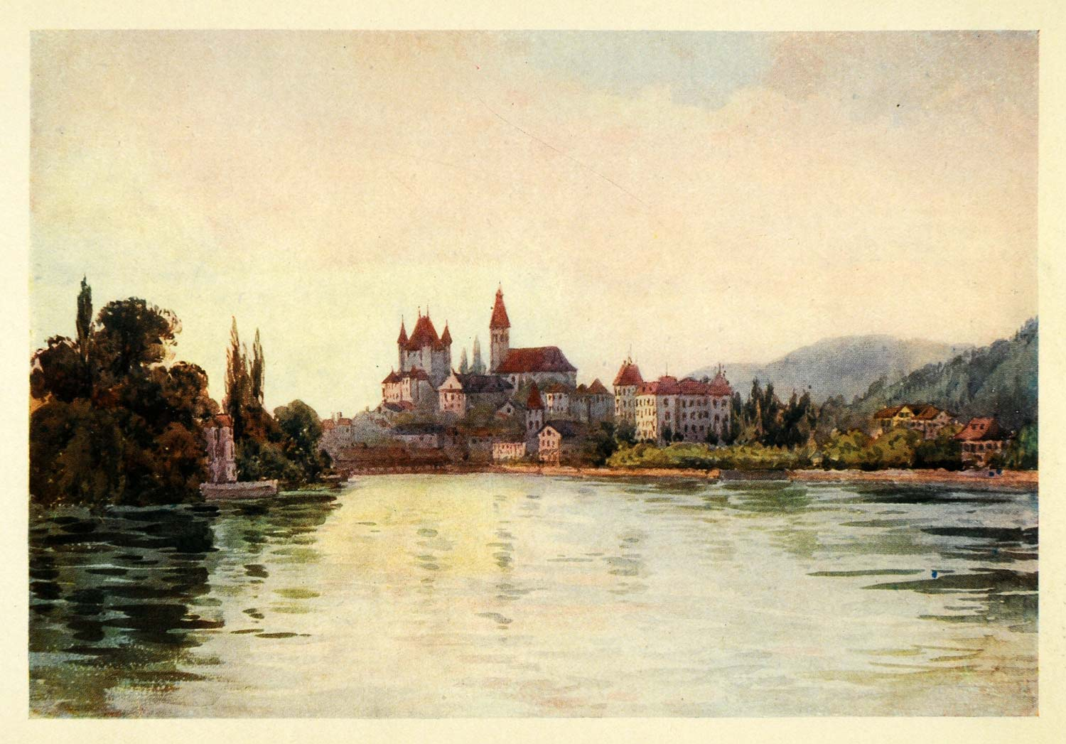 1907 Print Thun Lake Architecture Castle Schloss Switzerland Swiss Effie XGG4