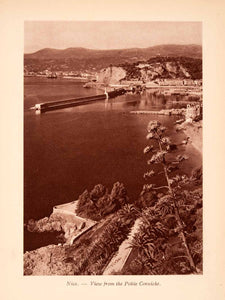 1924 Photogravure Nice France Mediterranean Sea Coast Harbor Cote D'azur XGGA6